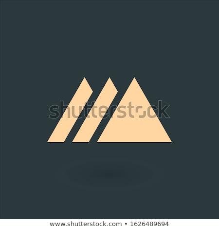 Creative blue trinity futuristic triangle symbol design for company logo. Triple Corporate tech geom Stock photo © kyryloff