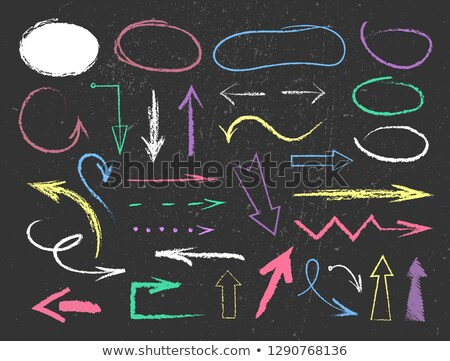 Hand drawn arrow set on green chalk board Stock photo © ShustrikS