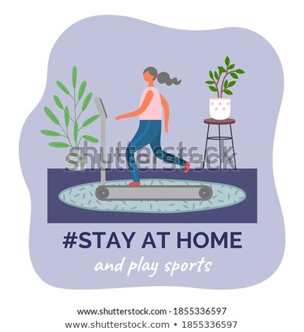 Stay at home and play sports, woman making fitness exercisess, start new life, quarantine isolation Stock photo © robuart