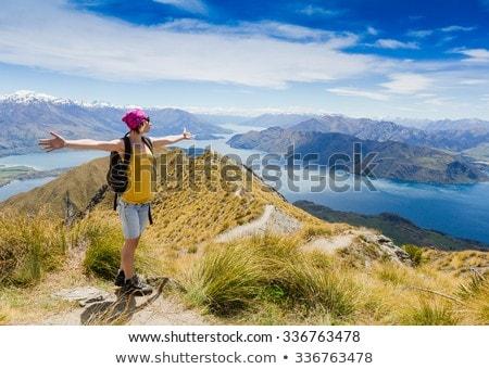 New Zealand Wanaka lake nature landscape travel woman traveler. Asian tourist relaxing enjoying view Stock photo © Maridav