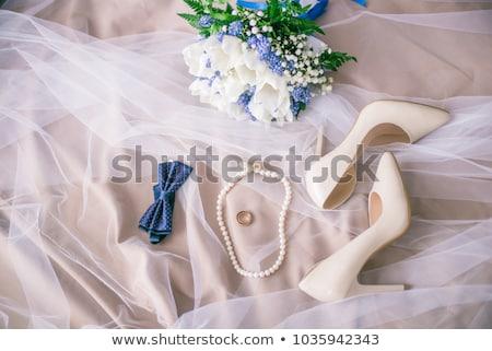 Gelinler mavi takı taş kolye düğün Stok fotoğraf © KMWPhotography