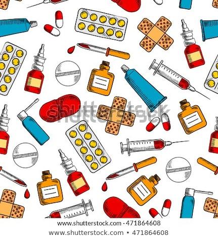 elsősegély · tok · ikon · vészhelyzet · orvosi · felszerelés · gyógyszertár - stock fotó © netkov1