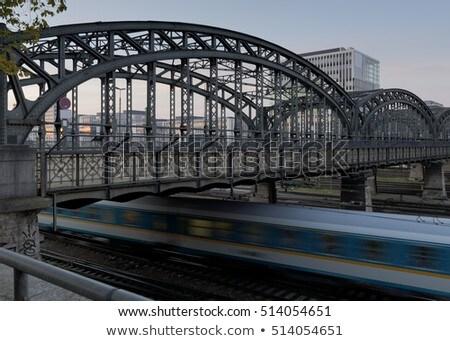 Brug München Duitsland bewegende trein hemel Stockfoto © haraldmuc