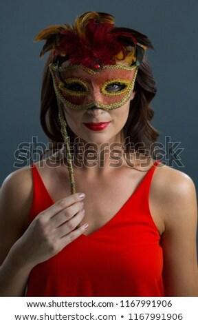 Mulher máscara preto retrato bela mulher Foto stock © wavebreak_media