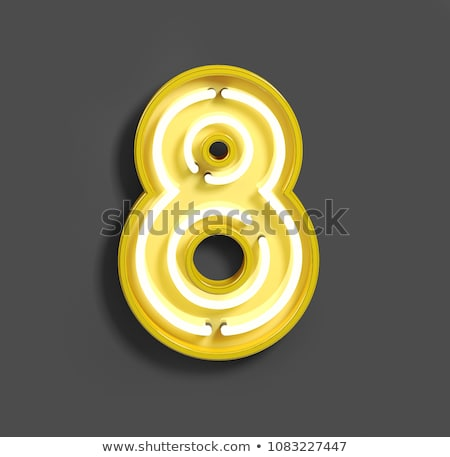 neon tube number on yellow background 3d stock photo © user_11870380