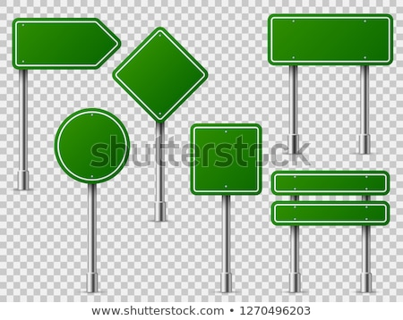 Green signs on metal posts Stock photo © colematt