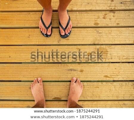 Stock fotó: Lábak · öreg · móló · tenger · fa · természet