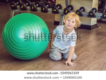 Foto stock: Menino · sessão · ginásio · mãos · bebê · feliz