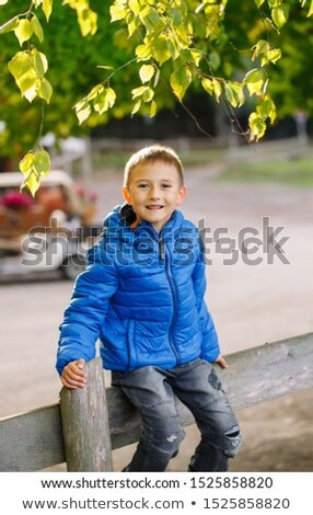 Vrolijk vergadering hek glimlachend camera boerderij Stockfoto © ElenaBatkova