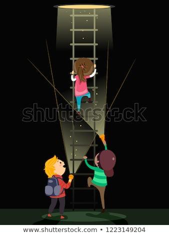 子供 地下 はしご 懐中電灯 実例 アップ ストックフォト © lenm
