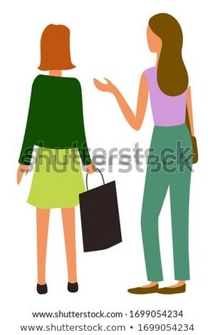 Females Talking at Marketplace Isolated Vector Stock photo © robuart