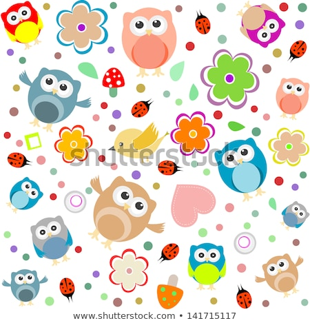 Seamless Background With Owls Leafs Mushrooms And Flowers Stock fotó © fotoscool