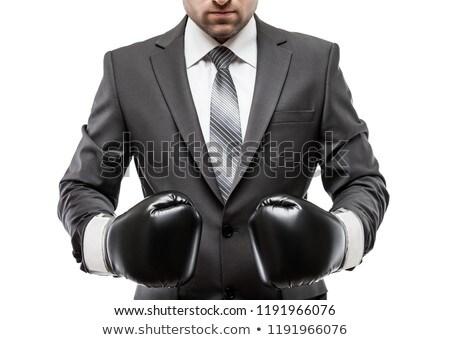portret · ernstig · jonge · man · Rood · bokshandschoenen · witte - stockfoto © nejron