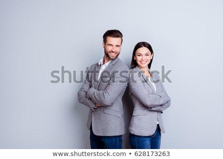 孤立した ビジネス カップル 小さな 立って 笑顔 ストックフォト © fuzzbones0