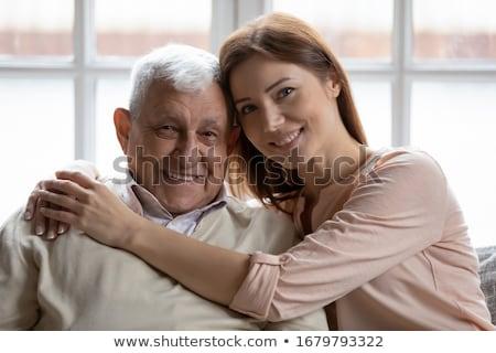 Przypadkowy ojciec córka kanapie domu salon Zdjęcia stock © wavebreak_media