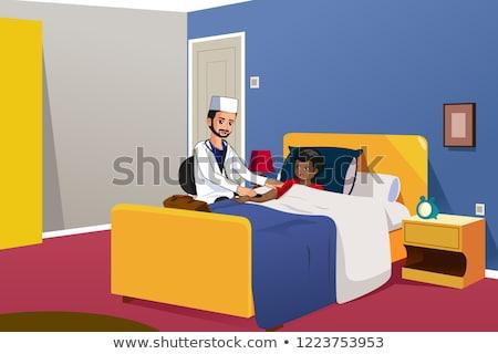 Muslim Doctor Checking on a Boy Illustration Stock photo © artisticco