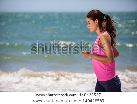 genç · kadın · jogging · plaj · yaz · gün · atlet - stok fotoğraf © lopolo