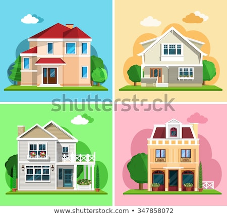 Two storey house with red roof Stock photo © colematt