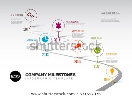 Vektor minimalista zöld infografika sablon színes Stock fotó © orson