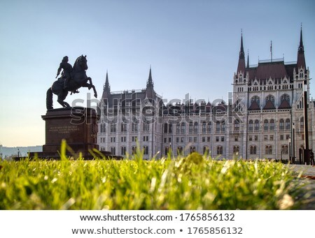 Rakoczi Ferenc equestrian statue before Hungarian paliament building. Stock photo © artjazz