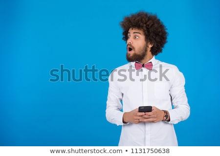 Telefone móvel vermelho arco isolado branco telefone Foto stock © impresja26