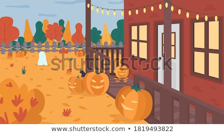 Autumn Season Scenery with People in Flat Style Stock photo © robuart