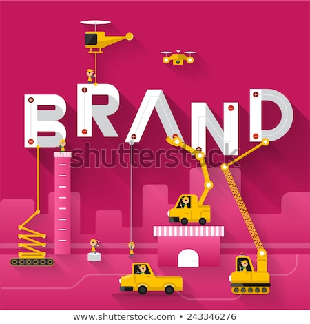 Brand start up: Businessman building brand-word. Stock photo © lichtmeister
