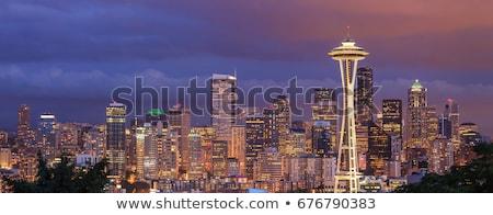 Seattle · skyline · Washington · illustratie · reflectie · water - stockfoto © mark01987