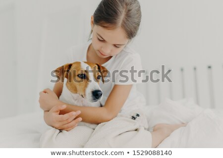 Cropped image of caring little girl in white t shirt, cuddles small pedigree dog, expresses big love Stock photo © vkstudio