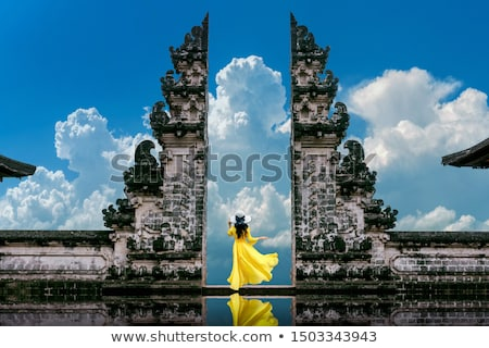 Tempel bali Indonesië hemel zon berg Stockfoto © galitskaya