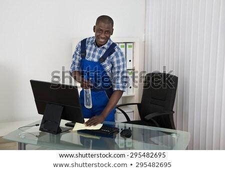 Boldog férfi gondnok iroda portré takarítás Stock fotó © AndreyPopov