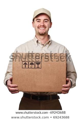 Jeunes Homme courrier boîte isolé blanche Photo stock © Elnur