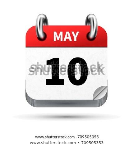 Lumineuses réaliste icône calendrier 10 date Photo stock © evgeny89