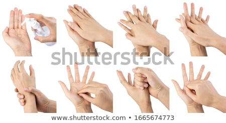 hands using wash hand sanitizer gel. Clear sanitizer in pump bottle, for killing germs, bacteria and Stock photo © galitskaya