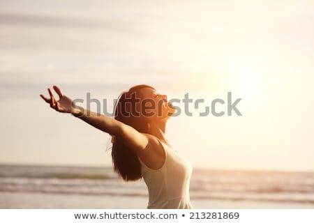 Happy summer carefree Asian girl enjoying freedom in nature after self isolation quarantine from COV Stock photo © Maridav