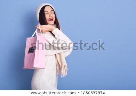 gelukkig · vrouw · Rood · sjaal · glimlachend - stockfoto © wavebreak_media