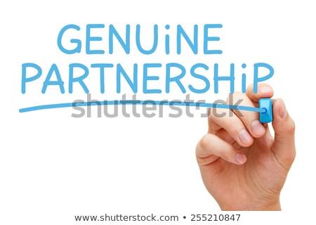 Eredeti együttműködés kék jelző kéz ír Stock fotó © ivelin