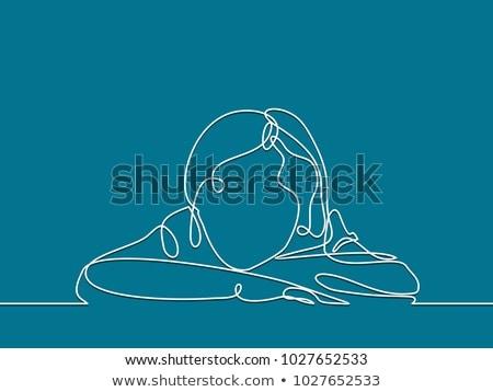 Cartoon довольно девушки мысли пузырь женщину стороны Сток-фото © lineartestpilot