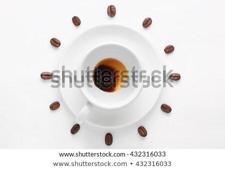 Vazio xícara de café relógio grãos de café café tempo Foto stock © CaptureLight