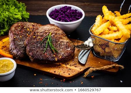 гриль говядины картофель фри продовольствие обеда стейк Сток-фото © M-studio