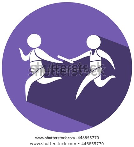 Relay running icon on round badge Stock photo © bluering