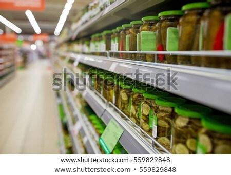 Ogórki konserwowe spożywczy supermarket półki sprzedaży zakupy Zdjęcia stock © dolgachov