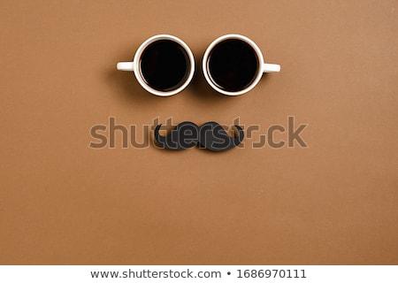 Taza café bigote primer plano blanco cerámica Foto stock © nito