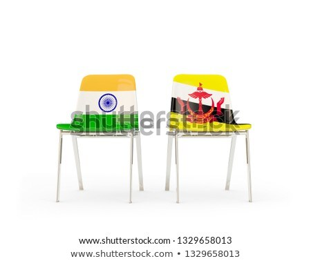 Two chairs with flags of India and brunei Stock photo © MikhailMishchenko