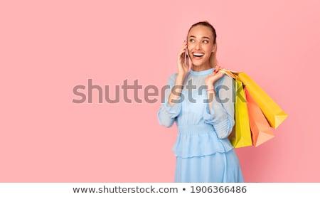Nő tart mobil barátok beszél ül Stock fotó © Kzenon