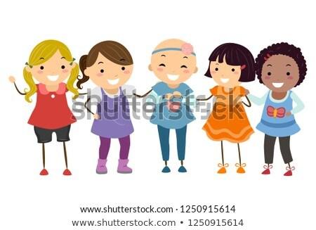 Stickman Kids Girls Alopecia Illustration Stock photo © lenm