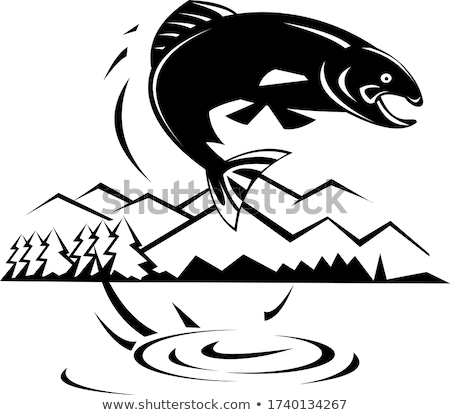 Trout Fish Jumping Lake With Trees and Mountains Retro Black and White Stock photo © patrimonio