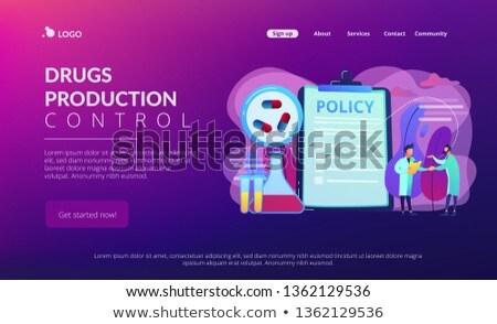 Farmaceutyczny polityka lądowanie strona schowek malutki Zdjęcia stock © RAStudio