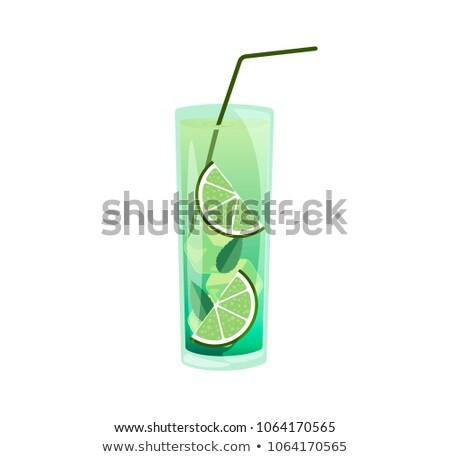 Juice with a lemon slice and straw Stock photo © broker