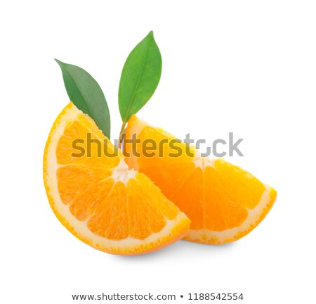 Stockfoto: Vers · sappig · sinaasappelen · geïsoleerd · witte · blad